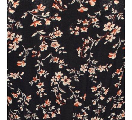 Robe chemise bleue marine fleurs liberty blanches et brique