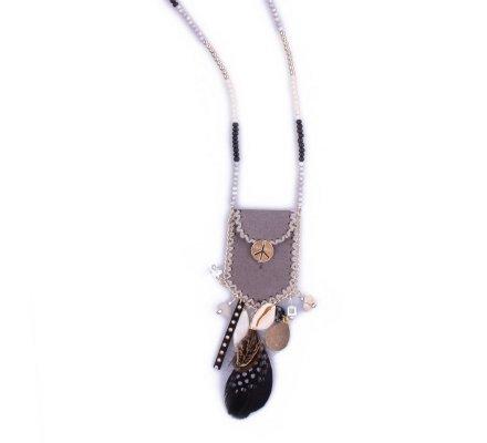 Sautoir Lolilota Besace hippie grise plumes et coquillages