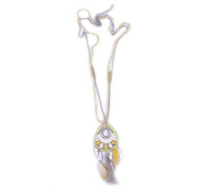 Sautoir Lolilota Capteur de rêves plumes jaunes et blanches