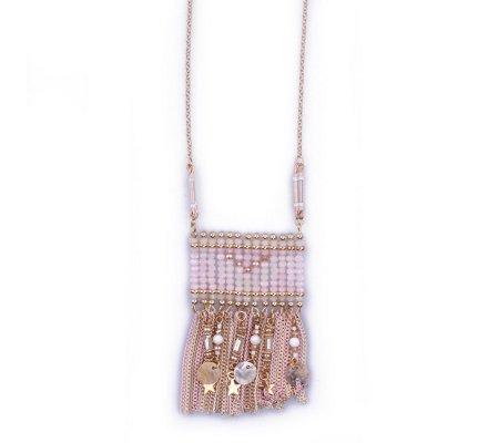 Sautoir Lolilota Enveloppis chaînettes et perles rose doré