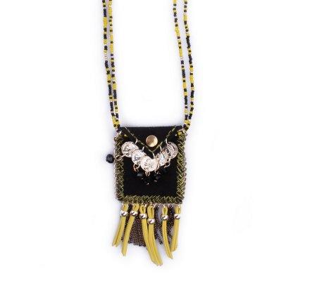 Sautoir Lolilota Pochette à pièces noir et jaune