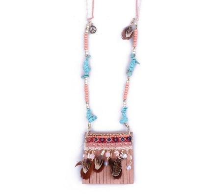 Sautoir Lolilota Pochette hippie chic rose et turquoise