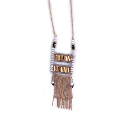 Sautoir Lolilota Voilage de perles et chaînettes doré et gris