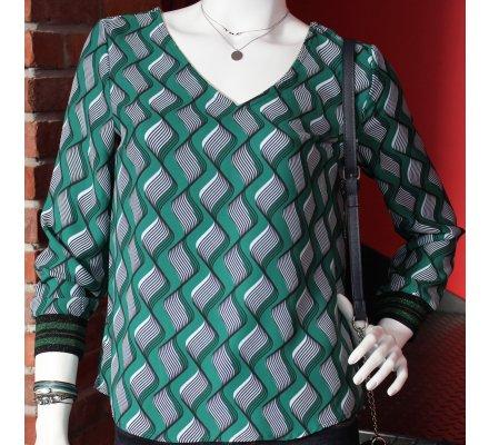 T-shirt vert motifs Seventies noirs et blancs