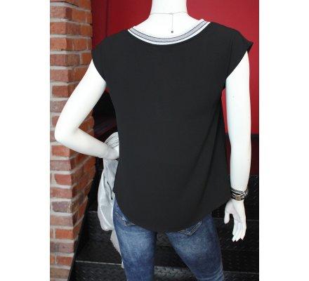 T-shirt noir sans manches col V rayures noires et blanches pailletées