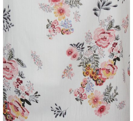 Top blanc fleuri rose jaune col broderies fleuries
