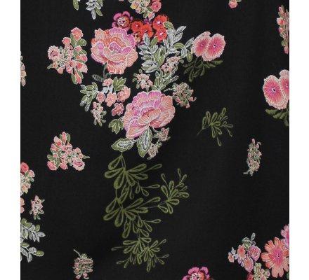 Top noir fleuri rose vert col broderies fleuries