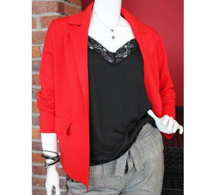 Veste rouge courte poches plaquées