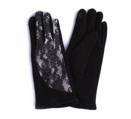 Gants noirs et gris dentelle