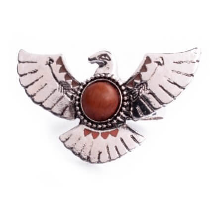 Bague Lolilota ethnique aigle royal argent perle marron femme
