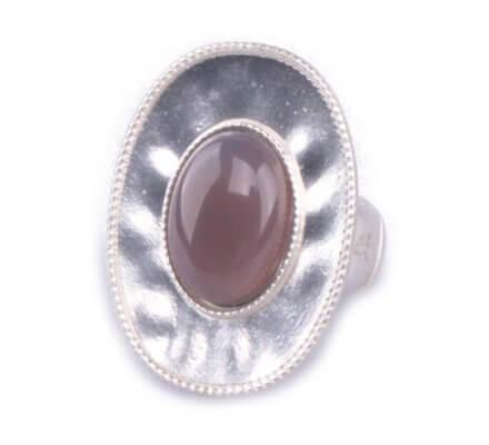Bague LOLILOTA élastique Ovale argent et perle grise