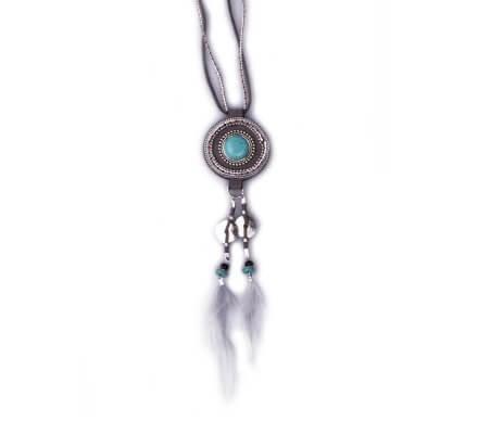 Sautoir Lolilota Trophis gris perles turquoises et plumes femme
