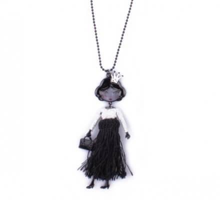 Sautoir Lolilota Poupée couronne et robe à franges noire et argent