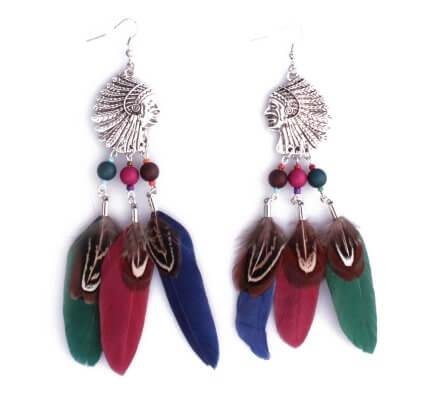 Boucles d'oreilles Lolilota Têtes d'indiens argent à plumes femme
