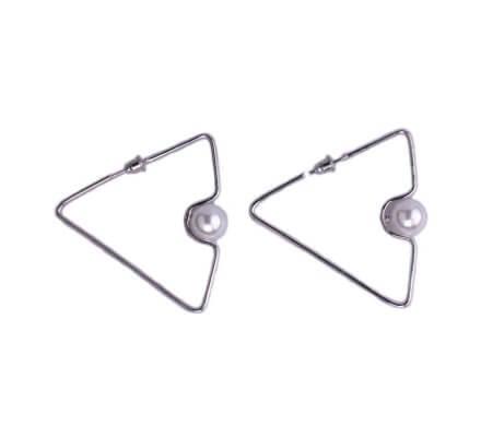 Boucles d'oreilles Lolilota Triangles argent perle blanche nacrée