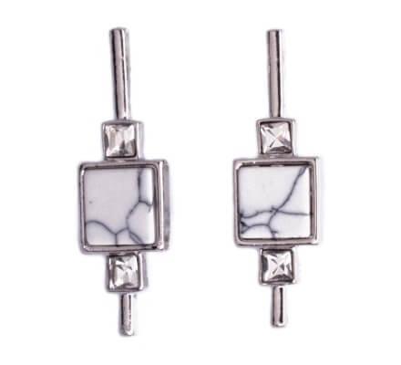Boucles d'oreilles Lolilota carré marbre blanc et strass