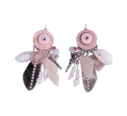 Boucles d'oreilles breloques roses et blanches perle nacre strassée fée clochette et plumes