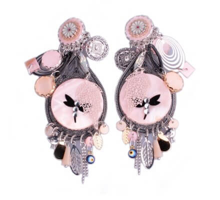 Boucles d'oreilles Lolilota à clips médaillon argent et rose libellule