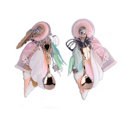 Boucles d'oreilles Lolilota à clips feuille et cage à oiseau rose