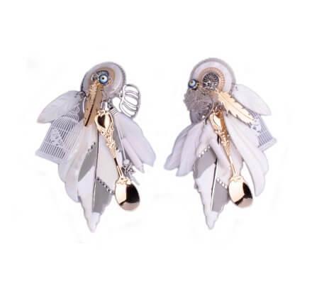 Boucles d'oreilles Lolilota à clips feuille et cage à oiseau