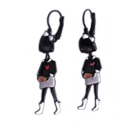 Boucles d'oreilles Lolilota poupées à nœud blanc robe et bottines