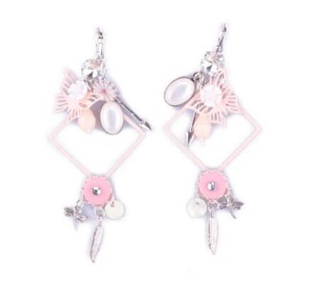 Boucles d'oreilles Lolilota breloques cadre à papillons roses et blanches
