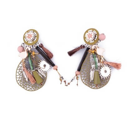 Boucles d'oreilles LOL à clips vertes breloques Feuille filigrane cage à oiseau et plumes