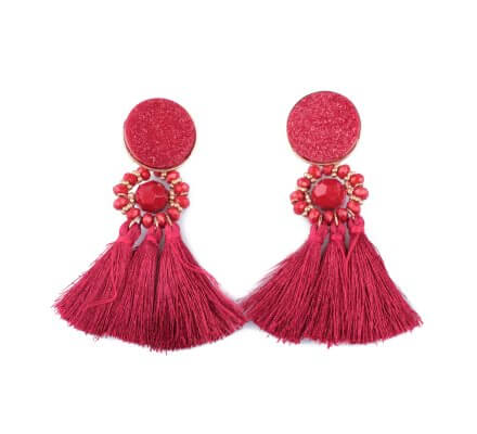 Boucles d'oreilles LOL médaillon pailleté à pompons rouges bordeaux
