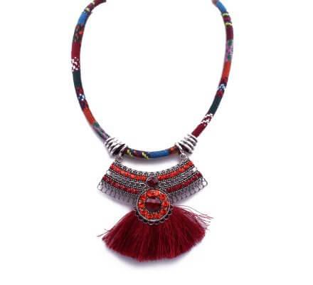Collier Aztèque pompon rouge et multicolore
