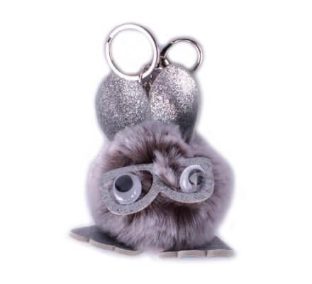 Porte-clés Bête à lunettes poils gris blancs paillettes argent
