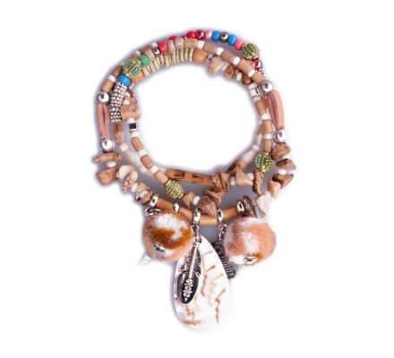 Bracelet Lolilota de perles multirangs pompons et hiboux camel et blanc
