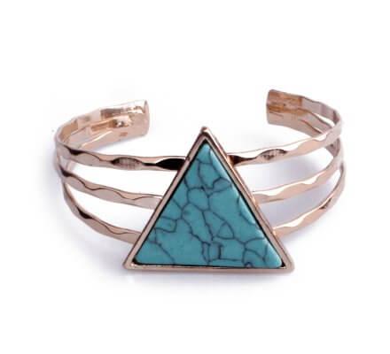 Bracelet Lolilota manchette doré triangle marbre bleu turquoise
