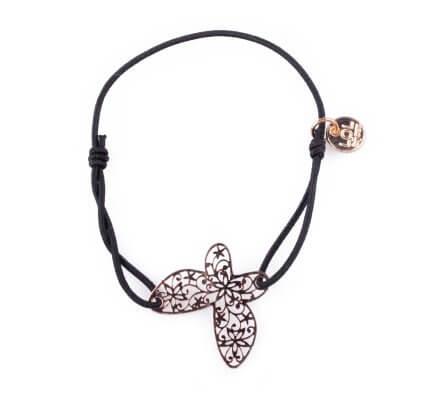 Bracelet Lolilota élastique noir papillon filigrane doré