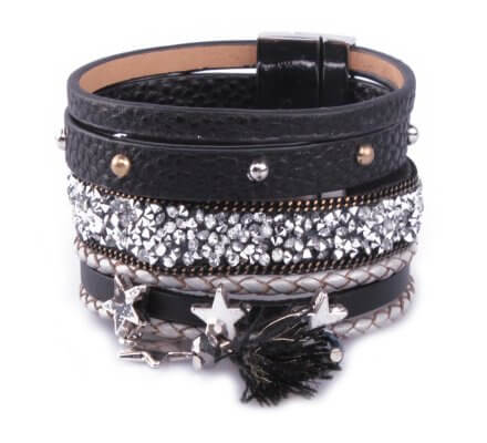 Bracelet LOL Manchette noir bandeau strass étoiles argent