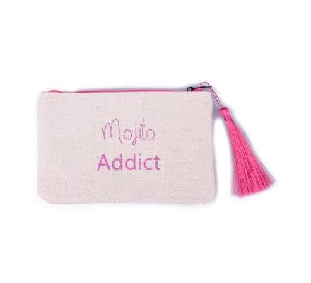 Petite pochette LOL beige pailletée Mojito Addict rose et pompon